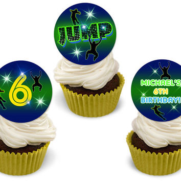 Jump Cupcake Toppers - Personalized Birthday Cupcake Toppers - Boy Birthday - Trampoline Party Cupcake - Bounce - Green Neon Yellow