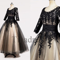 Custom Black Applique Lace Victoria Long Wedding Dresses Formal Bridal Gowns Wedding Party Dress Prom Dresses Evening Dresses Formal Wear