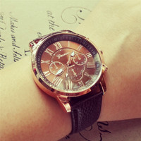 YAN & LEI Candy Color PU Leather Belt Round Dial Quartz Watch in 9 colors