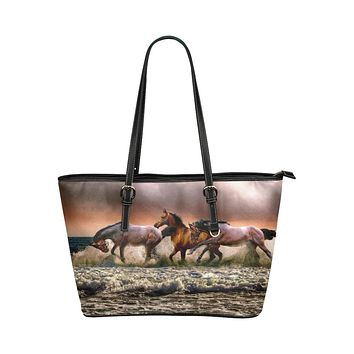 Tote Bags, Brown and Black Wild Horses Style Tote Bag