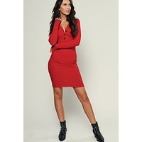 Right Way Ribbed Dress (Dark Red)