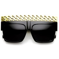 High Fashion Bold Chain Top Square Celebrity Sunglasses