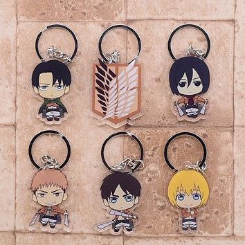 2019 Attack on Titan Keychain Double Sided Acrylic Key Chain Pendant Anime Accessories Cartoon Key Ring