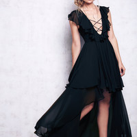 2016 free shipping hot sale ladies flounced long dress black red people V-neck sexy ruffles pleated irregular long dresses