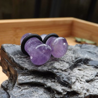 Pair single flair amethyst stone organic ear plug gauges 0g 8mm body jewelry