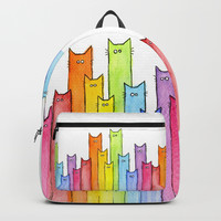 Cat Rainbow Watercolor Whimsical Animals Cats Pattern Backpack by olechka