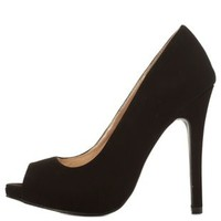 Black Peep Toe Mini Platform Pumps by Charlotte Russe