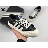 Adidas Skateboarding X Asap Ferg Matchcourt TLHP Casual Leather Sport Flat Shoe Sneakers Black(White Line) I-CSXY