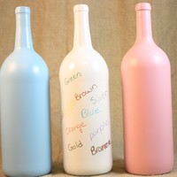 Guest Book Bottle, Baby Shower Guest Book, Painted Wine Bottle, Upcycled Wine Bottle, Pink Blue or White Painted Wine Bottle, Home Decor