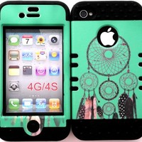 For apple iphone 4 4G 4S Dream catcher design hard plastic snap on + black soft silicone 2in1 hybrid case cover