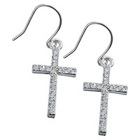 Gemmed Crosses Dangle Earrings