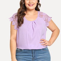 Plus Gathered Neck Floral Lace Shoulder Top