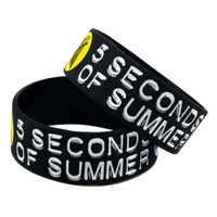 """1PC 5SOS 1"""" Wide Silicone Wristband Bracelet For Music Fans Adult Size"""