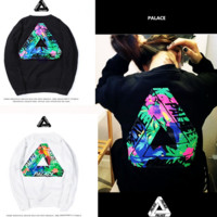 Palace tide brand sweater men and women pullovers long - sleeved round neck floral triangle printed cotton couple models Black
