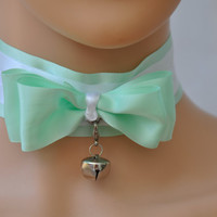 Pistachio bow Choker. Green Lolita collar, Light pistachio collar, Kitten play collar, Bell collar, Kawaii choker, Pistachio kitty collar