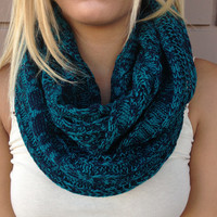 Teal & Navy Knit Infinity Scarf