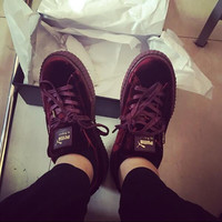 Rihanna x PUMA Creeper Velvet Pack sports shoes wine red H-TXXC-WXXC