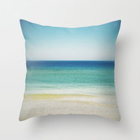 Pillow Cover, Blue Green Sand, Beach Surf, Throw Pillow, Boho Hippie Chic Loft Bungalow Decor, Bed Couch Living Accent 16x16 18x18 20x20