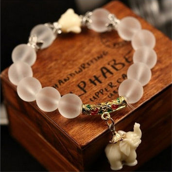 2017 New Natural Matte Crystal Elephant Bracelets Stone Bead Bracelet For Women Fashion Women Man Bracelet Female Jewelry