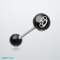 Brassknuckle Logo Acrylic Barbell Tongue Ring
