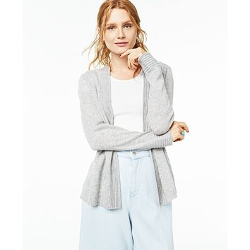 Charter Club, Charter Club Open-Front Cashmere Cardigan,  Ice Grey Heather Small