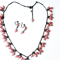Pink Pearl Necklace, Beaded Charms Necklace, Black and Pink Color Necklace, Trending Style  Fashions