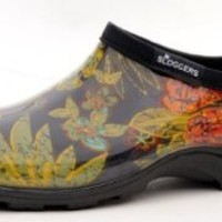 "Sloggers  Women's Rain and Garden Shoe with ""All-Day-Comfort"" Insole, Midsummer Black Print - Wo's size 9 - Style 5102BK09"