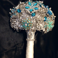 Blue Wedding Brooch Bouquet. Deposit on made to order Crystal Bling Diamond Bridal Broach Bouquet. Turquoise Sapphire Teal Jeweled Bouquet