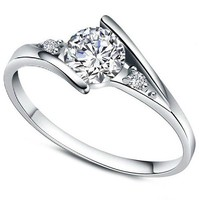 Women's Charms White Cubic Zirconia Diamond Love Promise Cz Ring Engagement Wedding Bridal Eternity Bands 7