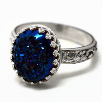 Midnight Blue Druzy Ring, Handforged Sterling Silver Ring, Druzy Agate Ring, Blue Gemstone Cocktail Ring
