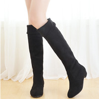 Hot! 2016 New Fashion Women Thigh High Boots Spring Autumn Ladies Over The Knee Boots Ladies Wedge Mid Heel Casual Women Shoes
