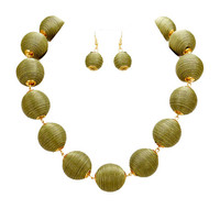Olive Green & Gold Thread Ball Statement Necklace and Earring Set