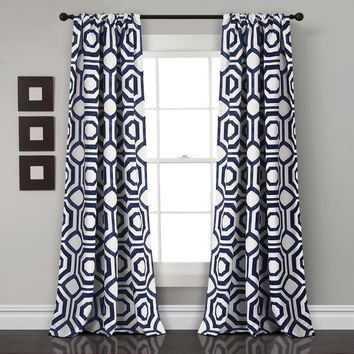 Octagon Ode Room Darkening Window Curtains