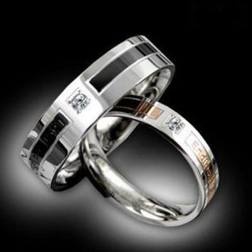 Korean His Her Titanium Steel Couple Ring Set - Couple Wedding Rings - Couples Gift Ideas Rhinestones iPhone 5 4S 3GS Cases, Couple Necklaces / Wedding Rings & Uncommon Gift Ideas - Worldwide Shipping