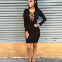 Black Lace-Up Long Sleeve Bodycon Dress