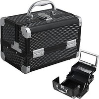 Black Krystal Pattern 2-Tiers Extendable Trays Cosmetic Makeup Train Case with Mirror M1001
