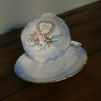 Antique Paragon teacup, Happy Anniversary collectible wide rim tea cup, hearts and clouds, rare paragon collectible teacup, 20th anniversary