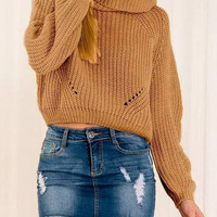 Khaki High Neck Knitted Cut-Out Cropped Sweater