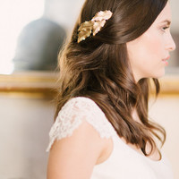 Gold leaf comb, gold comb, bridal comb