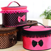 NEWBRAND Women Cosmetic Bag Travel Makeup Make up Storage Organizer Box Beauty Case-Rose red + dots