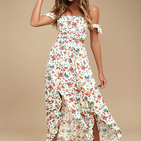 Easy on the Eyes Cream Floral Print Off-the-Shoulder Midi Dress