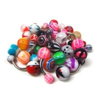 Belly Rings | Lot of 25 Assorted Navel Rings | 14 Gauge 316L Surgical Stainless Steel Navel Rings