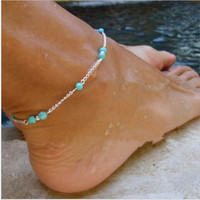 Unique Nice Turquoise Beads Silver Chain Anklet