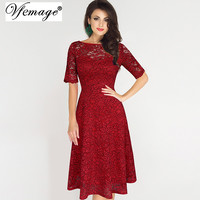 Vfemage Womens Elegant Sexy Lace See Through Tunic Casual Club Bridesmaid Mother of Bride Dress Skater A-Line Party Dress 3977