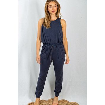 Always Exploring Navy Blue French Terry Jumpsuit