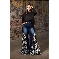Cowhide Mid Rise Side Ruffle Flare Jeans