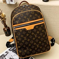 LV Louis vuitton letter printed logo large-capacity backpack school bag Daypack Coffee