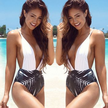 Backless One Piece Swimsuit High Waist Monokini Halter V-Neck