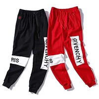 Givenchy New fashion embroidery letter couple pants