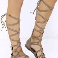 First Empress-ion Beige Suede Lace-Up Gladiator Sandals